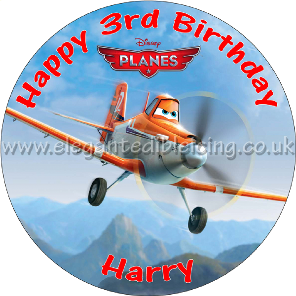 DISNEY PLANES PARTY EDIBLE ROUND BIRTHDAY CAKE TOPPER DECORATION